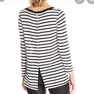 Splendid Striped Button-Up Back Top